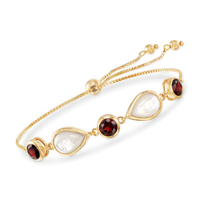 Mother-Of-Pearl and 6.00 ct. t.w. Garnet Bolo Bracelet in 18kt Gold Over Sterling