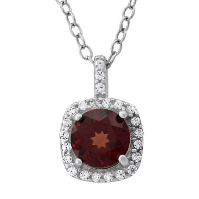 1.00 Carat Garnet and .12 ct. t.w. CZ Halo Pendant Necklace in Sterling Silver, , default