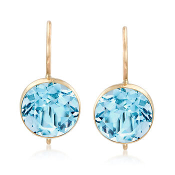 4.20 ct. t.w. Blue Topaz Drop Earrings in 14kt Yellow Gold, , default