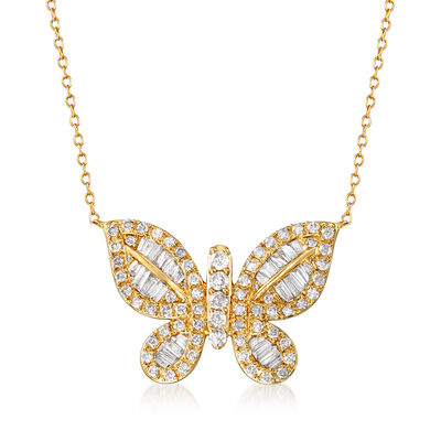 1.50 ct. t.w. Diamond Butterfly Necklace in 14kt Yellow Gold