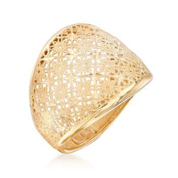 Italian 18kt Yellow Gold Openwork Floral Ring, , default