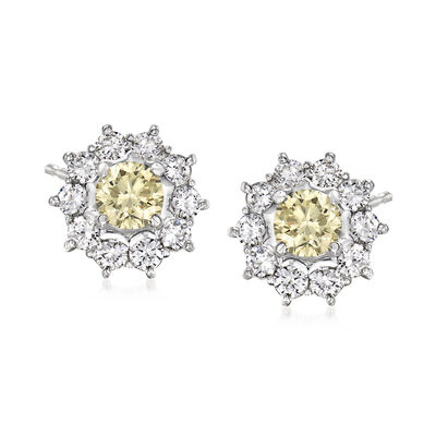 C. 2000 Vintage 1.84 ct. t.w. Yellow and White Diamond Cluster Earrings in Platinum