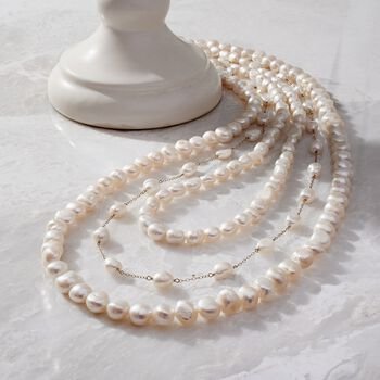 "7-10mm Cultured Semi-Baroque Pearl Jewelry Set: Three Endless Necklaces with 14kt Yellow Gold. 24-36"", , default"