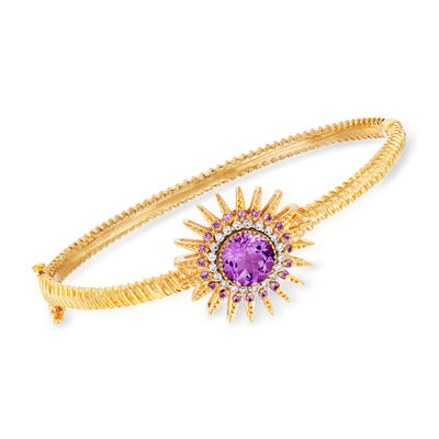 2.40 ct. t.w. Amethyst and .26 ct. t.w. Diamond Sun Bracelet in 18kt Gold Over Sterling, , default