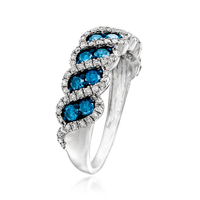 1.00 ct. t.w. Blue and White Diamond Ring in Sterling Silver