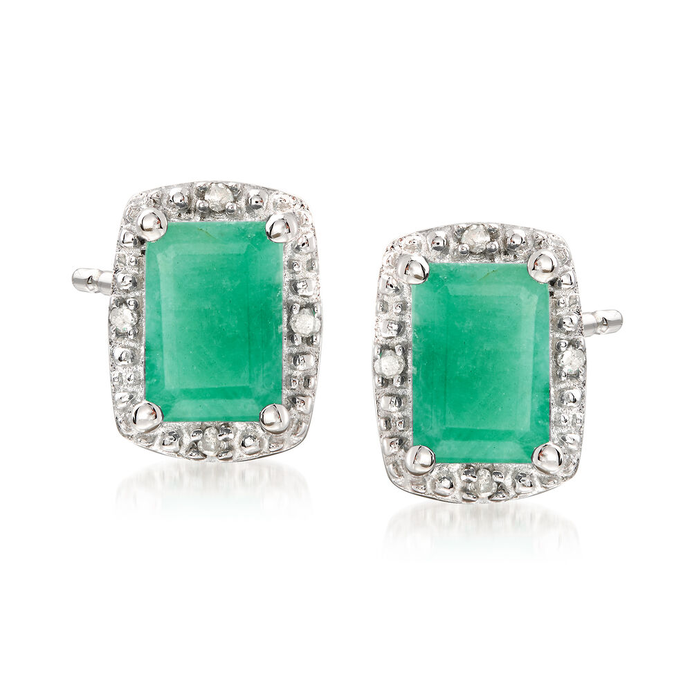 T W Emerald Stud Earrings With Diamond Accents In Sterling Silver Default