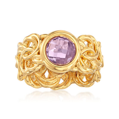Italian Andiamo 14kt Yellow Gold and 1.80 Carat Amethyst Byzantine Ring, , default