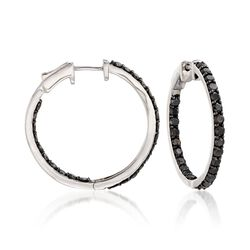3.00 ct. t.w. Black Diamond Inside-Outside Hoop Earrings in Sterling Silver, , default