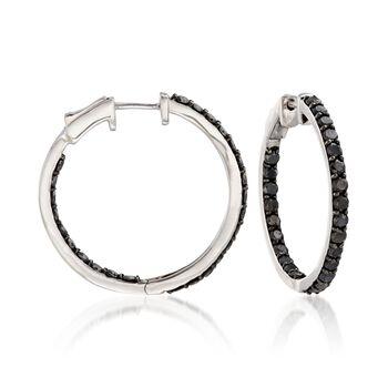"""3.00 ct. t.w. Black Diamond Inside-Outside Hoop Earrings in Sterling Silver. 1 1/8"""", , default"""