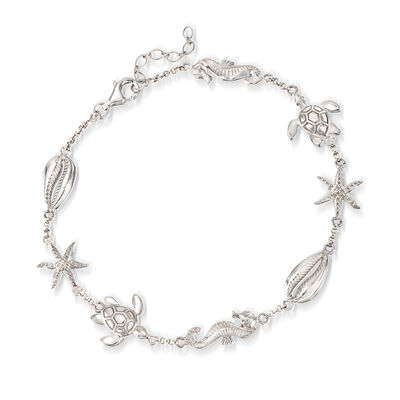 Sterling Silver Sealife Anklet, , default