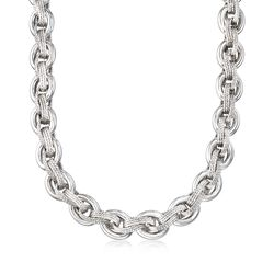 "Sterling Silver Multi-Link Necklace. 18"", , default"
