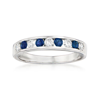 .28 ct. t.w. Diamond and .20 ct. t.w. Sapphire Ring in 18kt White Gold