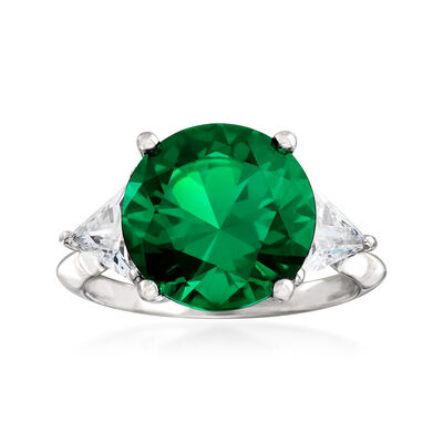 6.53 Carat Simulated Emerald and 1.50 ct. t.w. CZ Ring in Sterling Silver, , default
