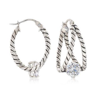 1.60 ct. t.w. CZ Roped Hoop Earrings in Sterling Silver , , default