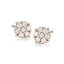 C. 1990 Vintage .50 ct. t.w. Diamond Cluster Stud Earrings in 14kt White Gold , , default