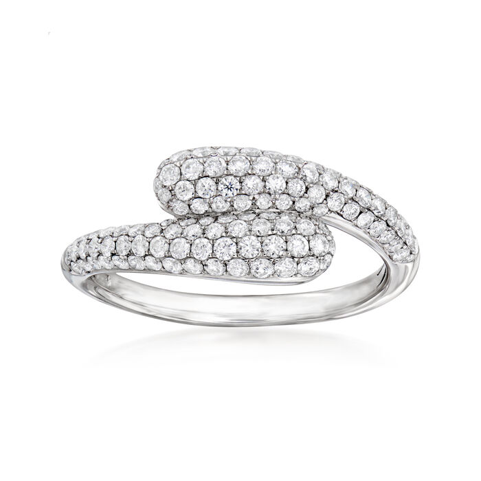 C. 2000 Vintage Giantti .78 ct. t.w. Diamond Bypass Ring in 18kt White Gold