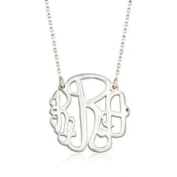 Sterling Silver Small Open Script Monogram Necklace, , default