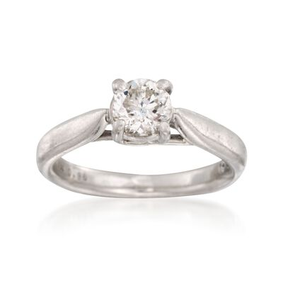 C. 2000 Vintage .96 Carat Round Octillion-Cut Diamond Solitaire Ring in Platinum, , default