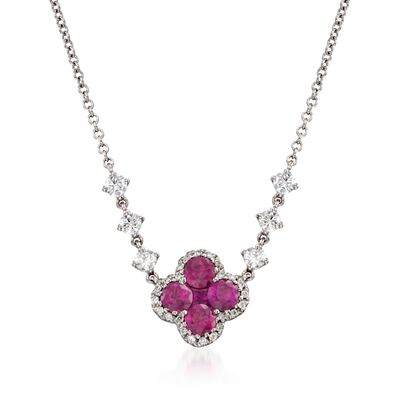 Gregg Ruth .80 ct. t.w. Ruby and .35 ct. t.w. Diamond Floral Necklace in 18kt White Gold, , default