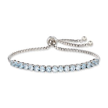 5.00 ct. t.w. Blue Topaz Bolo Bracelet in Sterling Silver