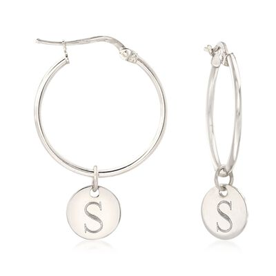 Italian Sterling Silver Single Initial Disc Drop Hoop Earrings  , , default