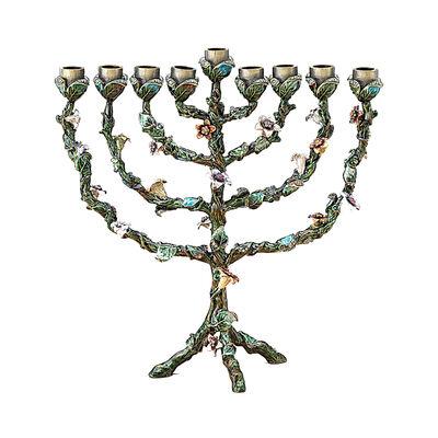 Jeweled Enamel Floral Menorah