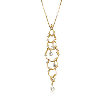 C. 1990 Vintage Stefan Hafner Diamond Drop Necklace in 18kt Yellow Gold, , default