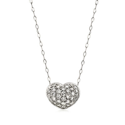C. 1980 Vintage .75 ct. t.w. Diamond Heart Necklace in 14kt White Gold and Platinum