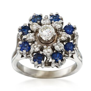 C. 1980 Vintage .80 ct. t.w. Sapphire and .65 ct. t.w. Diamond Cluster Ring in 14kt White Gold. Size 5.25, , default
