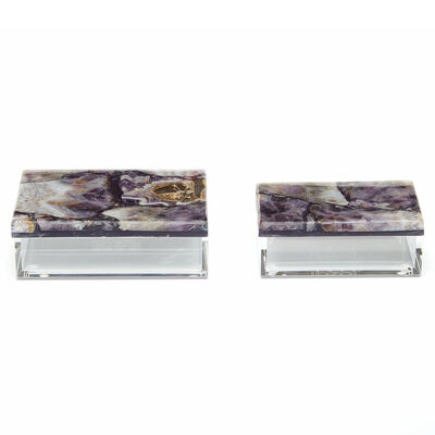 Set of Two Genuine Amethyst Decorative Boxes, , default