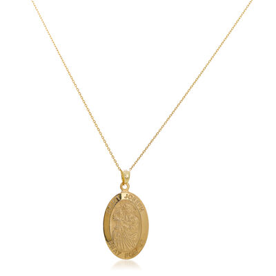 14kt Yellow Gold Large Oval Joseph Medal Pendant Necklace, , default