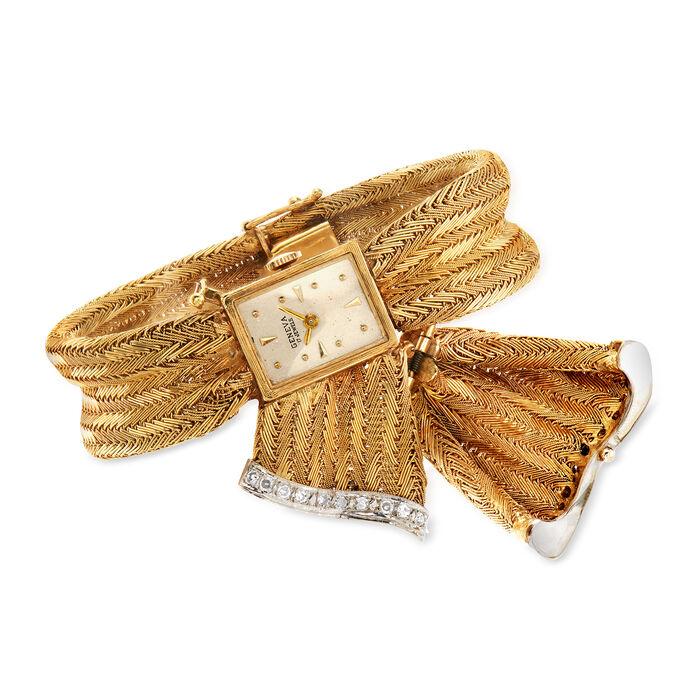 C. 1950 Vintage Geneva .50 ct. t.w. Diamond 13mm Hidden Watch in 14kt Yellow Gold. Size 7