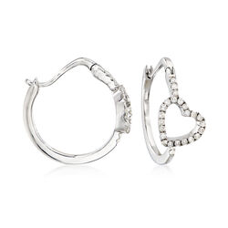 .50 ct. t.w. Diamond Heart Hoop Earrings, , default