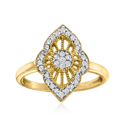.25 ct. t.w. Diamond Cluster Ring in 18kt Gold Over Sterling