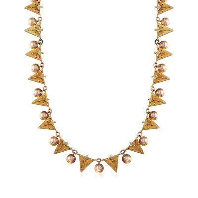 C. 1940 Vintage 14kt Two-Tone Gold Triangle Necklace, , default