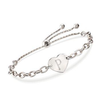 Italian Sterling Silver Heart Bolo Bracelet, , default