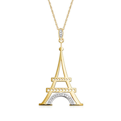 14kt Yellow Gold Eiffel Tower Pendant Necklace with Diamond Accents