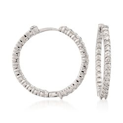 Roberto Coin 1.55 ct. t.w. Diamond Inside-Outside Hoop Earrings in 18kt White Gold, , default