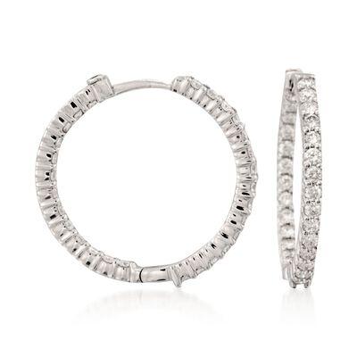 Roberto Coin 1.55 ct. t.w. Diamond Inside-Outside Hoop Earrings in 18kt White Gold, , default