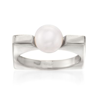 Italian 8mm Cultured Pearl Squared Ring in Sterling Silver