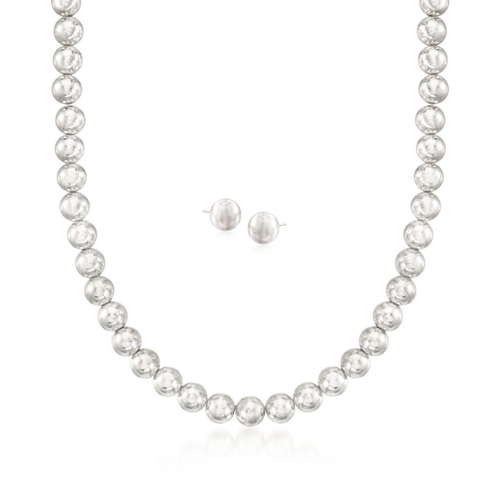 """97cce6f36 8mm Sterling Silver Bead Necklace with Free Stud Earrings. 18"""", ,  default"""