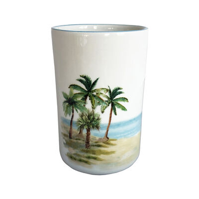 "Abbiamo Tutto ""Palm Breezes"" Ceramic Wine Bottle/Kitchen Utensil Holder from Italy"
