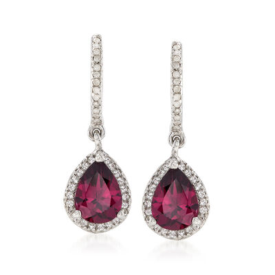 2.20 ct. t.w. Rhodolite Garnet Drop Earrings with White Topaz and Diamonds in Sterling Silver, , default