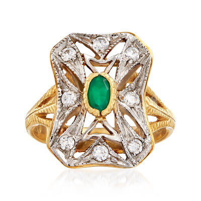 C. 1980 Vintage Green Chalcedony and .35 ct. t.w. CZ Ring in 18kt Two-Tone Gold