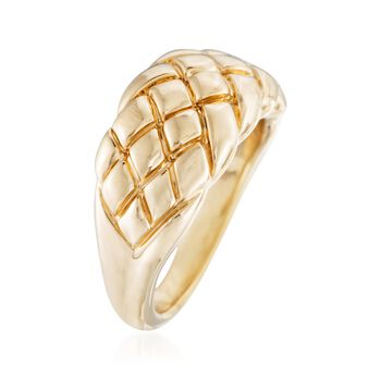 14kt Yellow Gold Quilted Ring, , default