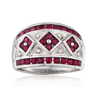C. 1980 Vintage 1.70 ct. t.w. Ruby and Diamond-Accented Ring in 14kt White Gold
