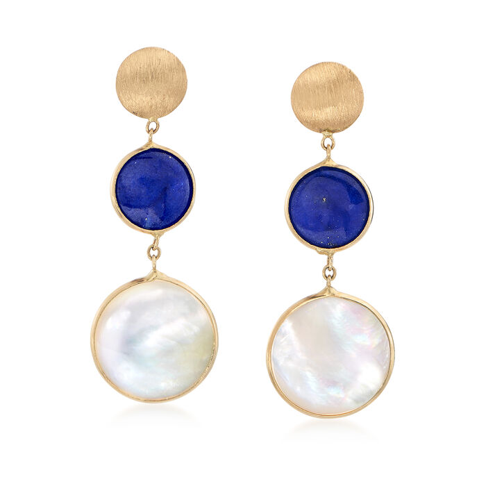 Italian 12mm Mother-Of-Pearl and 8mm Lapis Drop Earrings in 14kt Yellow Gold, , default