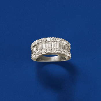 3.00 ct. t.w. Baguette and Round Diamond Ring in 14kt White Gold, , default