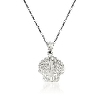 "14kt White Gold Shell Pendant Necklace. 18"", , default"
