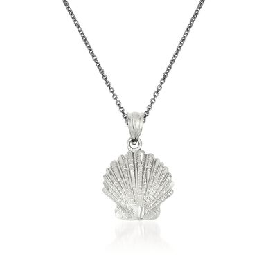 14kt White Gold Shell Pendant Necklace, , default